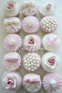 cupcakes # pink # white # elegant cupcakes # cotton and crumbs