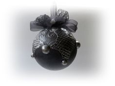 Black and Silver Christmas Ball. Christmas Ornament .Christmas Tree Decorations.Vintage Noel Ornament.Santa Claus. Holiday Gift by VintageShabbyRustick on Etsy