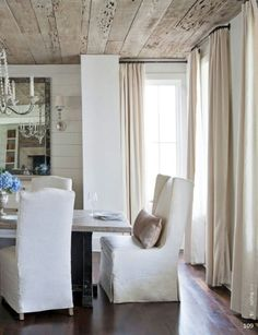 Traditional Home - of 20 - Farmhouse Chic Kid-friendly and peaceful go hand-in-hand for a family of six, thanks to designer Rachel Halverson, Written by Cathy Whitlock, Photographed by Paige Rumore, pg Dining Room Curtains, Dining Chairs, Dining Rooms, Traditional Home Magazine, Family Room Design, Cottage Design, White Rooms, Fashion Room, Traditional House