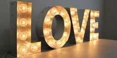 Love fairground light bulb letters