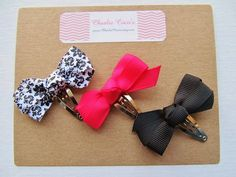 Baby Hair Bows Baby Hair Clip Set Pink Black White by CharlieCocos, $4.95