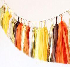 Tissue tassel garland in orange brown yellow and by PomJoyFun, $29.00