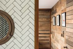 Texture and a simple colour palette. Wood and plain herringbone tiles
