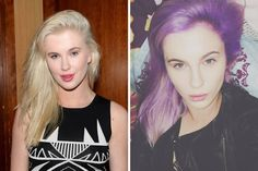 Ireland Baldwin: after years w/ lavender hair, it seems Kelly Osbourne may have finally sparked trend; 1st, Richie followed suit & days later newly single Baldwin debuted purple 'do