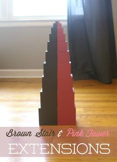 Extensions for the Brown Stair & Pink Tower (free printable) from Our Montessori Home