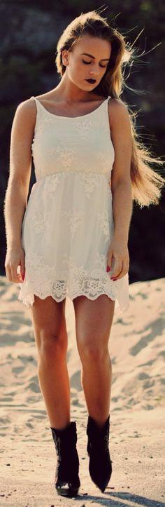Bik Bok White Lacey Strappy Mini Dress