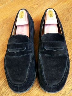 JM WESTON 180 Black Suede Loafers Mens Shoes UK 7.5 / US 8.5 E - $175