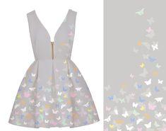 Šedá látka s motýlky by mohla být skvělou volbou na léto. Líbila by se Vám tota látka na letní šaty?