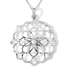 """Sterling Silver Open Floral Pendant with 18"""" Cable Link Chain"""