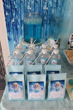 Drinks at a Frozen birthday party! See more party planning ideas at CatchMyParty.com!
