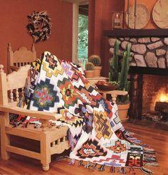 Aztec Mayan Mystique Afghan Crochet Pattern Scrap Yarn Indian Blanket