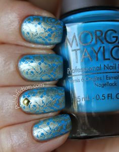 Morgan Taylor West Coast Cool stamped with China Glaze Passion from Pueen27 (Pueen Love Elements) stamping plate #nail #nails #nailart