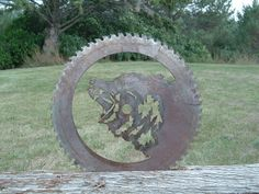 "48"" steel sawmill blade custom cut into a grizzly bear design. www.custommetaldesigns.webs.com"