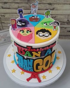 Teen Titans Go Birthday Cake - Teen Titans Go Birthday Party Ideas 7th Birthday Cakes, Birthday Party Snacks, Teen Titans Go Characters, Nutella Chocolate Cake, Teen Cakes, Geeks, Little Girl Birthday, Party Ideas, Birthday Cakes