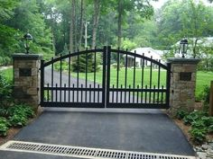 entry gate designs front entry piers gates stone bridges traditional landscape wooden fence driveway gate designs Simple front gate with pillars. Wrought Iron Driveway Gates, Front Gates, Entrance Gates, Front Entry, Front Gate Design, House Gate Design, Fence Design, Farm Entrance, Driveway Entrance