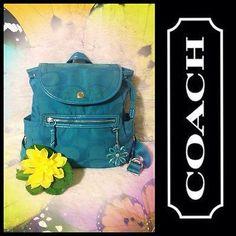 COACH KYRA DAISY TEAL BLUE GREEN BACKPACK BAG HANDBAG PURSE F19673