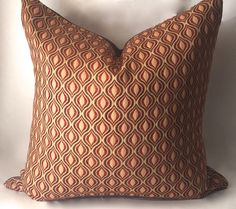 Brown Red Gold Throw Pillow Decorative by SewDeevinePillows