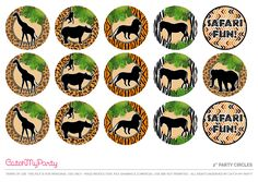 """Download These Free Jungle Safari Printables Now - 2"""" Party Circles. See more party ideas and share yours at CatchMyparty.com #catchmyparty #partyideas #freeprintables #freejunglesafariprintables #jungleparty #safariparty #junglepartydecorations #safaripartydecorations #junglesafaricupcaketoppers"""