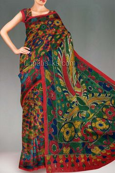 UNM4668-Sizzling wedding vegetable maroon tussar silk kalamkari pen painting saree