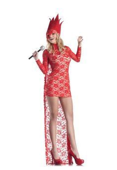 2018 Red Lace Pop Star Large Fancy Dress and more Pop Star Costumes for Women, Women's Halloween Costumes for Pop Star Costumes, Cool Costumes, Adult Costumes, Costumes For Women, Halloween Costumes, Adult Halloween, Lady Gaga Costume, King Costume, Costume Dress