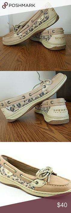{Sperry} Angelfish Leopard Print Sequin Boat Shoes Sperry Top-Sider angelfish leopard print sequin with beige. Excellent condition. Worn only one or two times. I just think they're not right for my feet. Perfect bottoms on them. Clean. No signs of wear. Excellent condition. Size 6.5 M Sperry Shoes Flats & Loafers