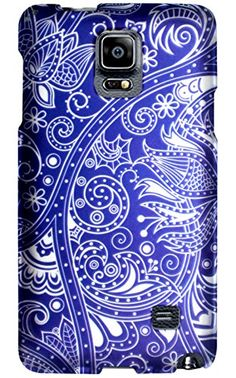 "myLife Sapphire Blue + Arctic White Paisley Flowers {Retro, Girly, Beautiful} 2 Piece Snap-On Rubberized Protective Faceplate Case for the Samsung Galaxy Note 4 ""All Ports Accessible"" myLife Brand Products http://www.amazon.com/dp/B00U7W78TC/ref=cm_sw_r_pi_dp_wTyhvb1JDQXM6"