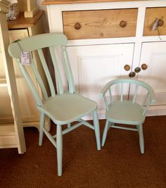 Victorian painted cottage chair and painted child's chair at Rosie Loves Vintage