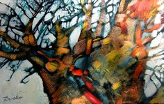 Spirit of light _ Baobab 30cm x 17cm oil on leather paper