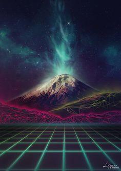 Synthwave Cotopaxi Retrofuturism Volcano