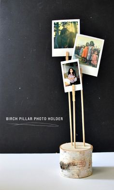DIY Birch Pillar Photo Holder