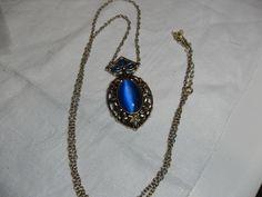 Sha signed Blue Cat's Eye necklace, Blue gemstone necklace, Southwestern style necklace, vintage signed jewelry, Gingerslittlegems