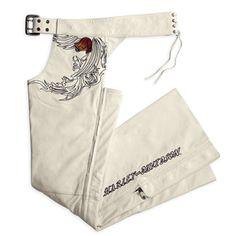 97014-10VW - Harley-Davidson® Womens Pacific Coast White Leather Chaps - Barnett Harley-Davidson®  #HDNaughtyList