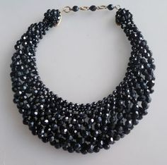 Coppola E Toppo Extraordinary Woven Black Glass Necklace - unsigned