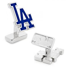 MLB Mens Palladium LA Dodgers Cufflinks with Collectible Gift Box