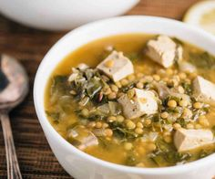 Slow Cooker Lentil and Miso Soup. This hearty version of miso soup contains delicious lentils and cubes of tofu in a flavorful broth. Slow Cooker Lentils, Vegan Slow Cooker, Slow Cooker Recipes, Crockpot Recipes, Soup Recipes, Whole Food Recipes, Vegetarian Recipes, Healthy Recipes, Healthy Food