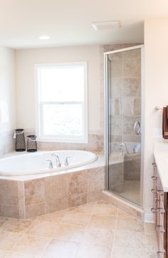 Ceramic tile flooring, soaking tub with ceramic tile deck, custom ceramic shower enclosed with glass.