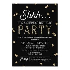 Shh Surprise Birthday Party Faux Glitter Confetti Invitation Anniversary Party Invitations, Glitter Invitations, Simple Wedding Invitations, Anniversary Parties, Wedding Invitation Cards, Custom Invitations, Invitation Birthday, Invitation Ideas, Shower Invitations