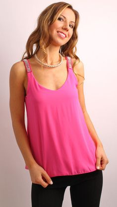 Pink With Stone Straps Top