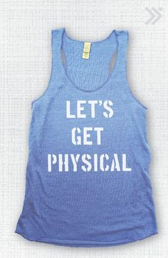 Let's Get Physical Eco Tank Blue/White by everfitte on Etsy, $26.00