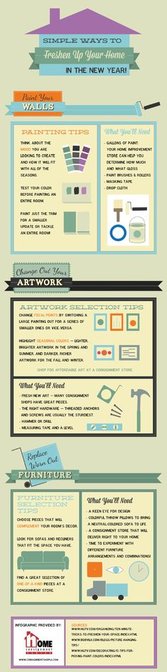 Simple Ways to Freshen Up Your Home Infographic Diy Bar Stools, Diy Home, Diy Desk, Decorating Tips, Interior Decorating, Painting Tips, Being A Landlord, Things To Know, Save Energy