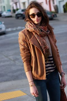 classics // daily uniform --- asymmetrical brown leather jacket, scarf and jeans