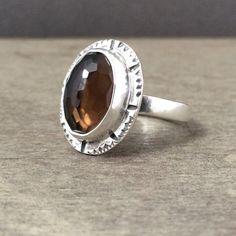 Smokey quartz ring  rose cut quartz ring  size 8 ring  by prox