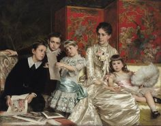 """Cornelia Ward Hall and Her Children"" by Michele Gordigiani (1880)"