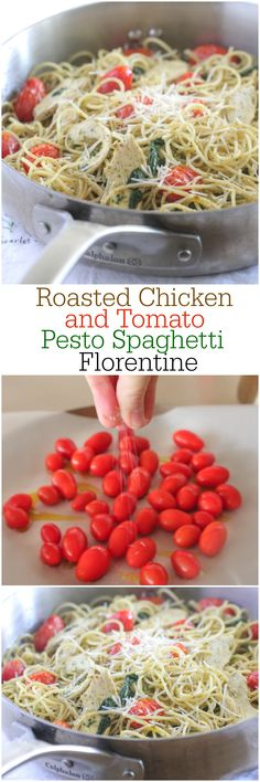 Roasted Chicken and Tomato Pesto Spaghetti Florentine!  Delicious weeknight dinner done in under 30 minutes!