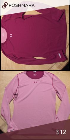Women's Under Armour All Season Gear Reversible! Light pink/fuschia. Wear the light side against skin to keep you cool. Wear the dark side against skin to keep you warm. With it being reversible, the white tag has been removed. Under Armour Tops Tees - Long Sleeve