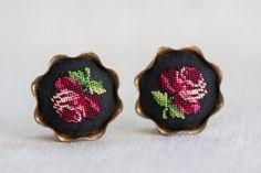 VINTAGE Maria Stransky Petit Point ROSE EARRINGS by TridentTrue