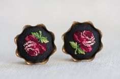 VINTAGE Maria Stransky Petit Point ROSE EARRINGS by TridentTrue