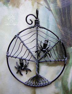 Spiderweb by RachaelsWireGarden on deviantART Sea Glass Jewelry, Copper Jewelry, Wire Jewelry, Pendant Jewelry, Jewellery, Handmade Jewelry, Holiday Jewelry, Halloween Jewelry, Wire Wrapped Pendant