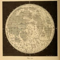 Map of the Moon. Astronomy for the Use of Schools and Academies. 1882.