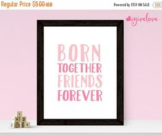 SALE 50% Pink Twins Nursery Born Together Friends by igivelove